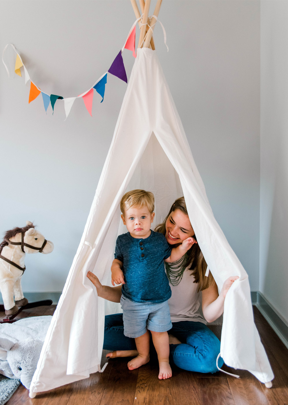 Mother and Child building a fort