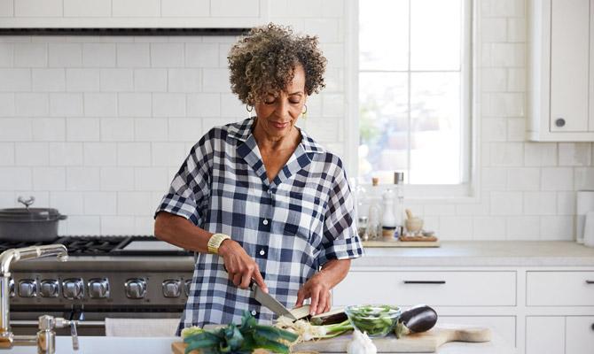 A woman preparing dinner
